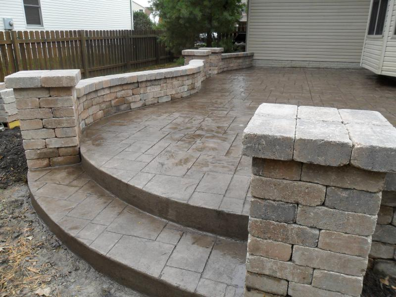 Stairs between two paver columns.