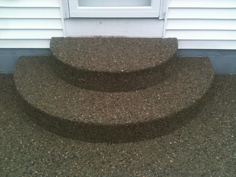 Exposed Aggregate Patio and two tier rounded steps.