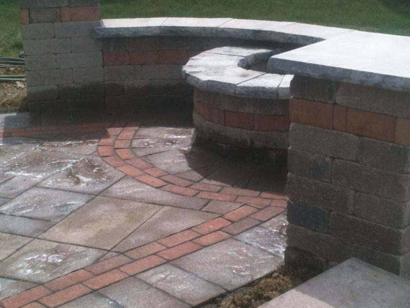 Unilock Beacon Hill Flagstone pavers with Brussels Dimensional walls and fire pi