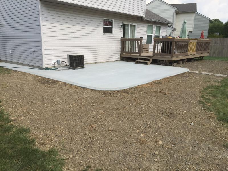 Broom finish patio with proper grading - ready for mulch, seed or sod Galloway O