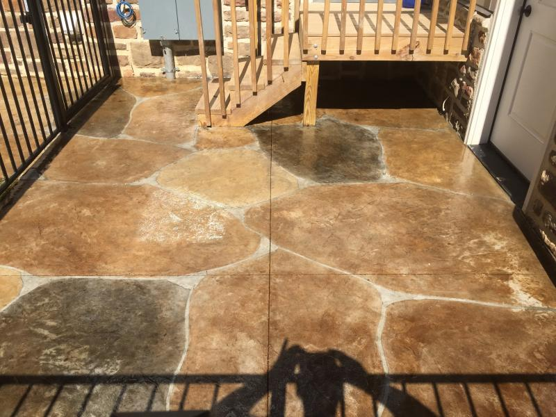 Stinciled and acid stained concrete patio