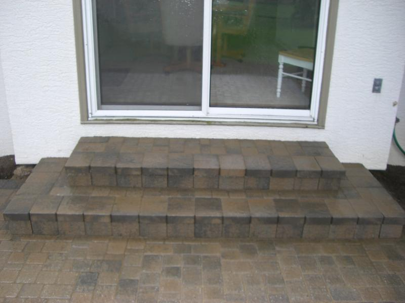 Paver wedding cake steps with poured concrete base