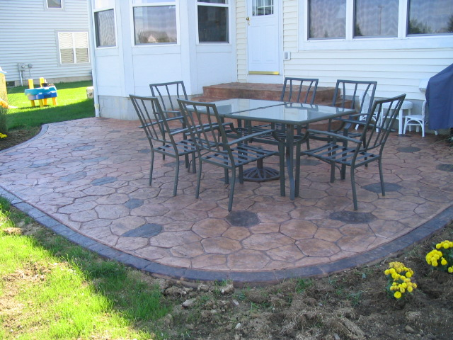 Another Random Stone paterned concrete patio with staining